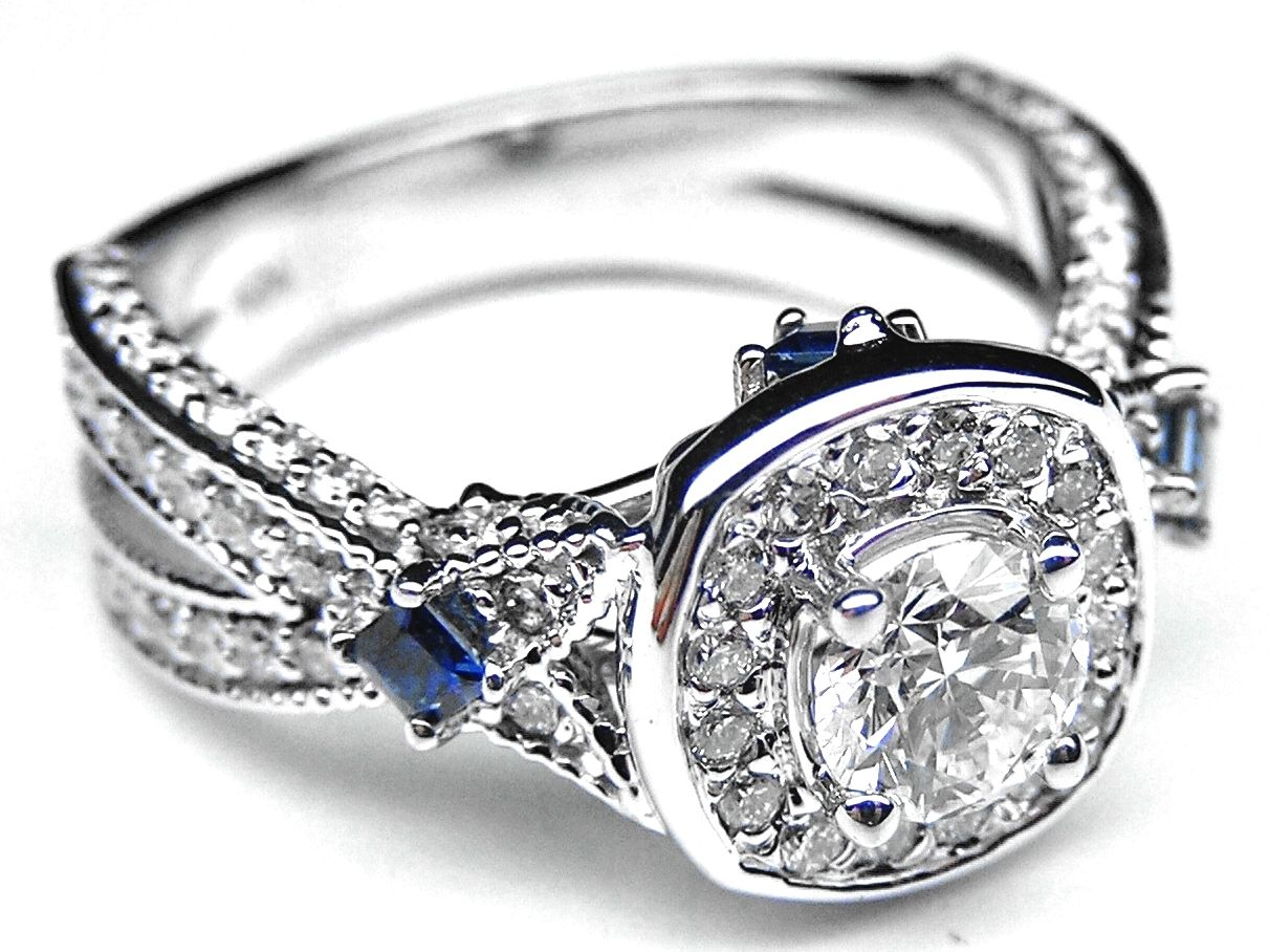 vintage sapphire wedding bands Diamond Halo Laced Engagement Ring Blue Sapphire Accents in 14K White Gold
