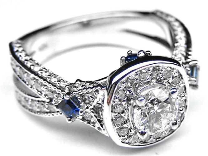 blue sapphire wedding rings Diamond Halo Laced Engagement Ring Blue Sapphire Accents in 14K White Gold