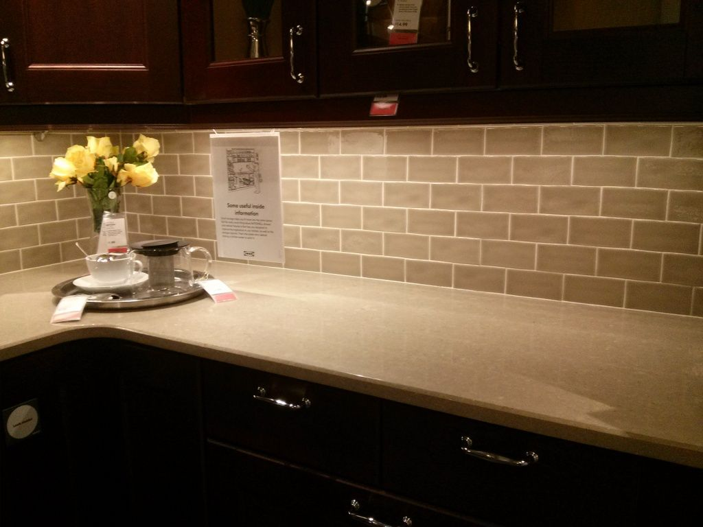 kitchen subway tile backsplash Kitchen Soft Grey Subway Tile Backsplash On Dark Brown Wood Cabinet Cream Granite Countertop In Outstanding Kitchen Amazing Decorating Subway Tile