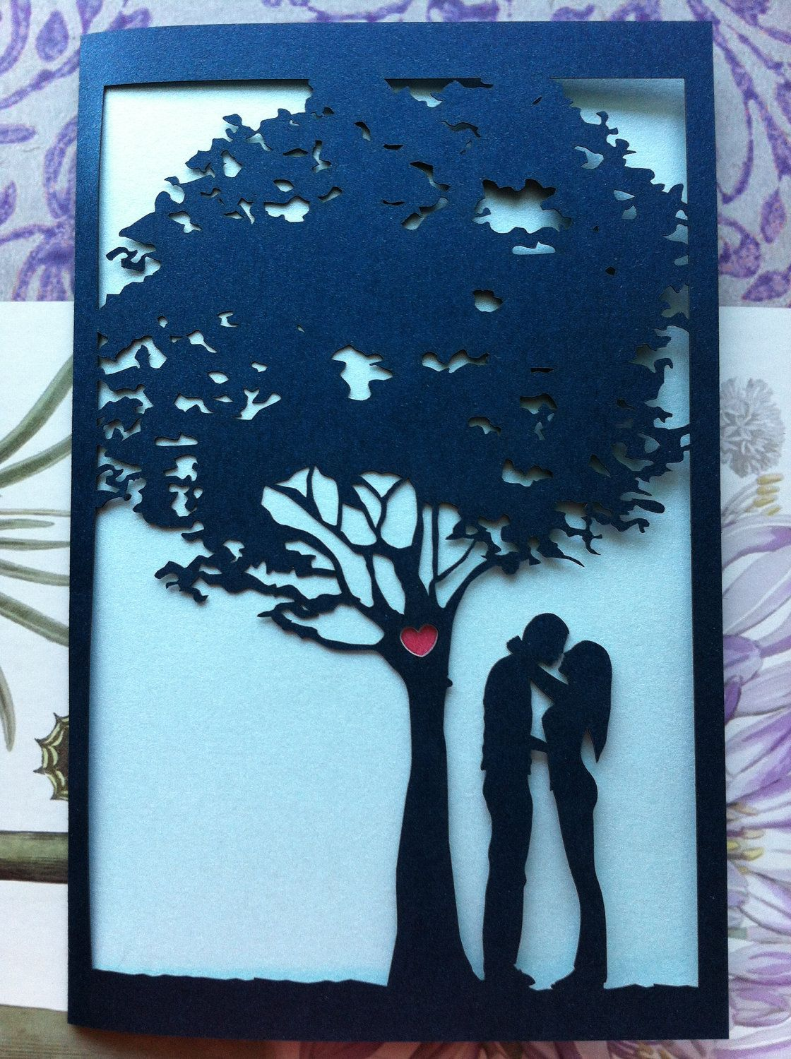 laser cut wedding invitations Laser Cut Wedding Invitation Love Story Tree Invitation Custom Personalized
