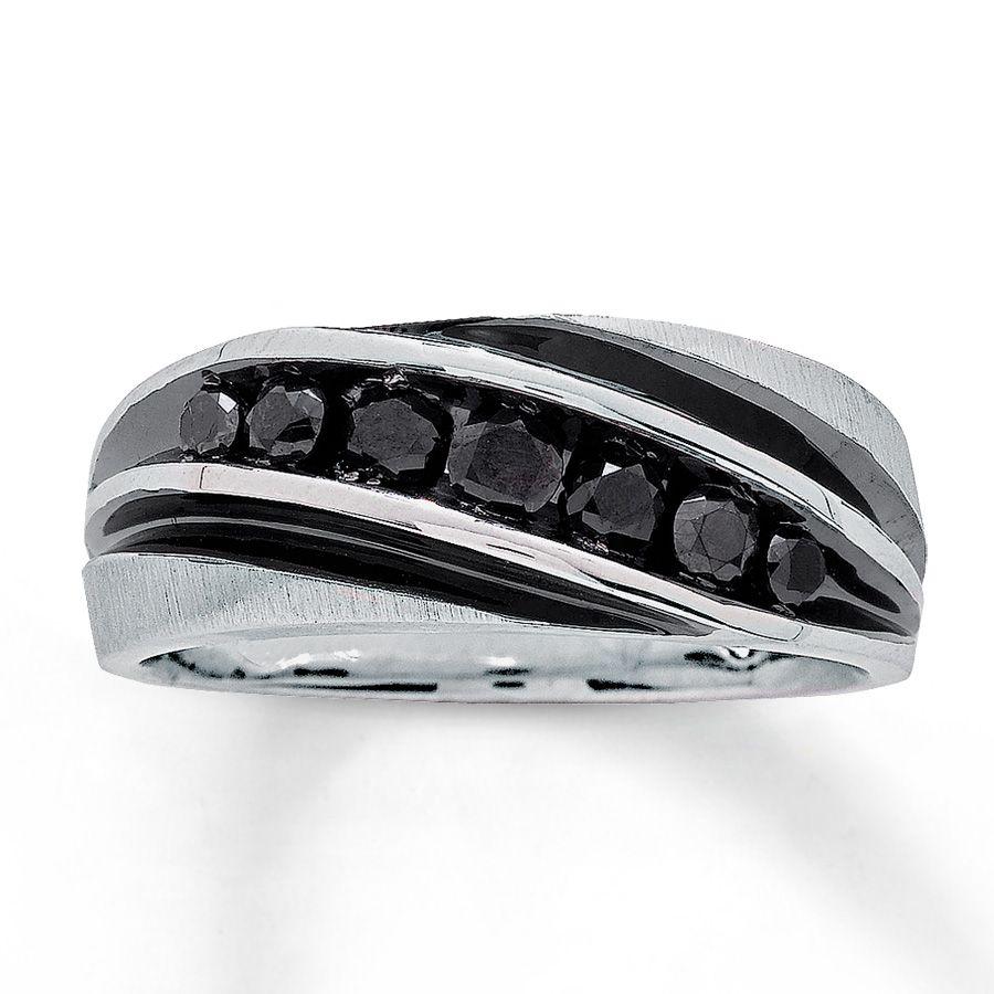 jared wedding rings Jared Men s Black Diamond Band 3 4 ct tw Round Cut 10K White