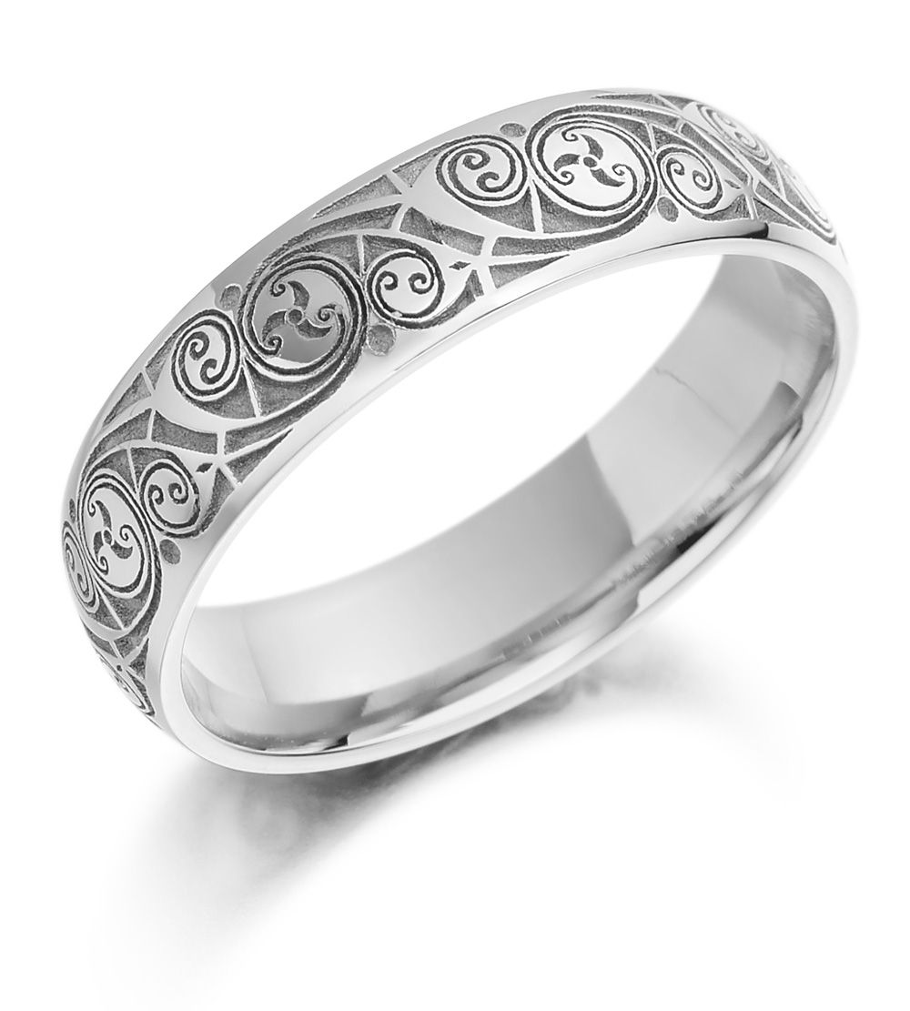 white gold wedding band Celtic Wedding Ring Ladies Gold Celtic Spiral Triskel Irish Wedding Band