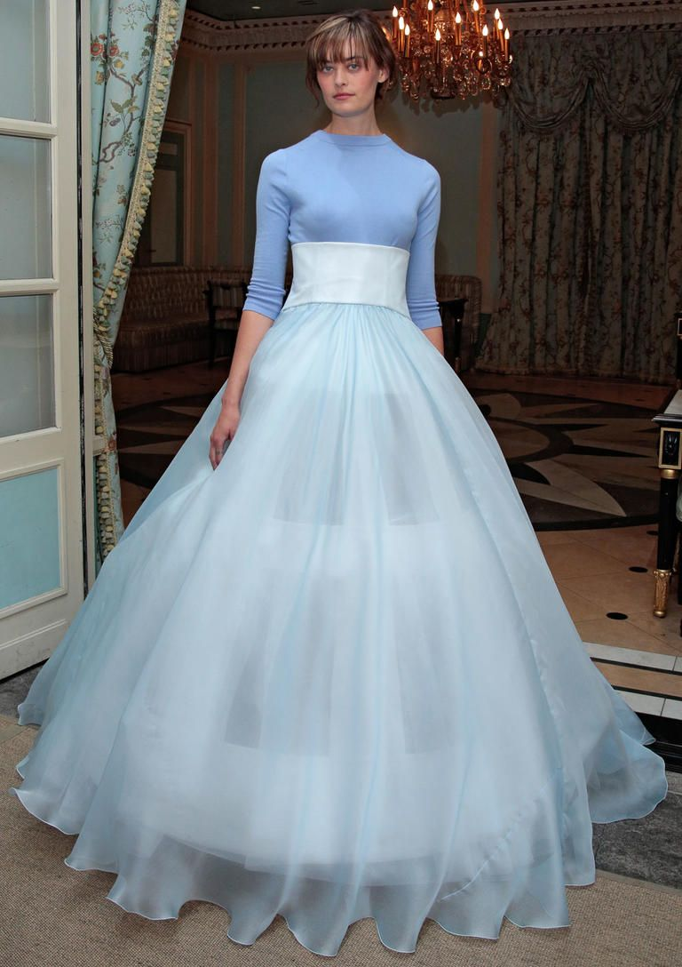 baby wedding dresses Delphine Manivet Spring baby blue ball gown wedding dress with sheer full skirt and crew