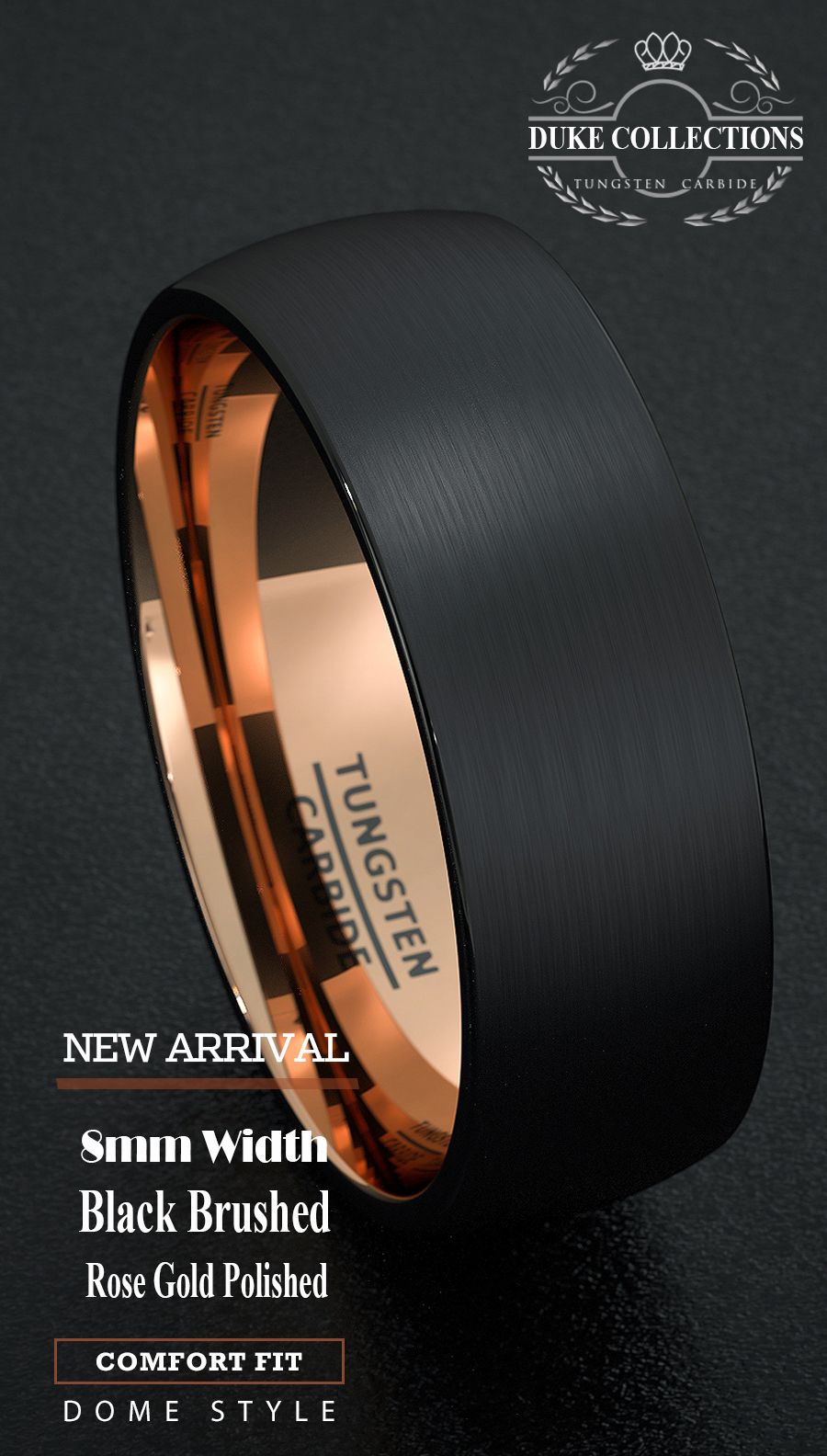 black wedding bands Tungsten Wedding Band Black Men s Ring 8mm Gold Inside Matted Brushed Surface Dome Comfort Fit