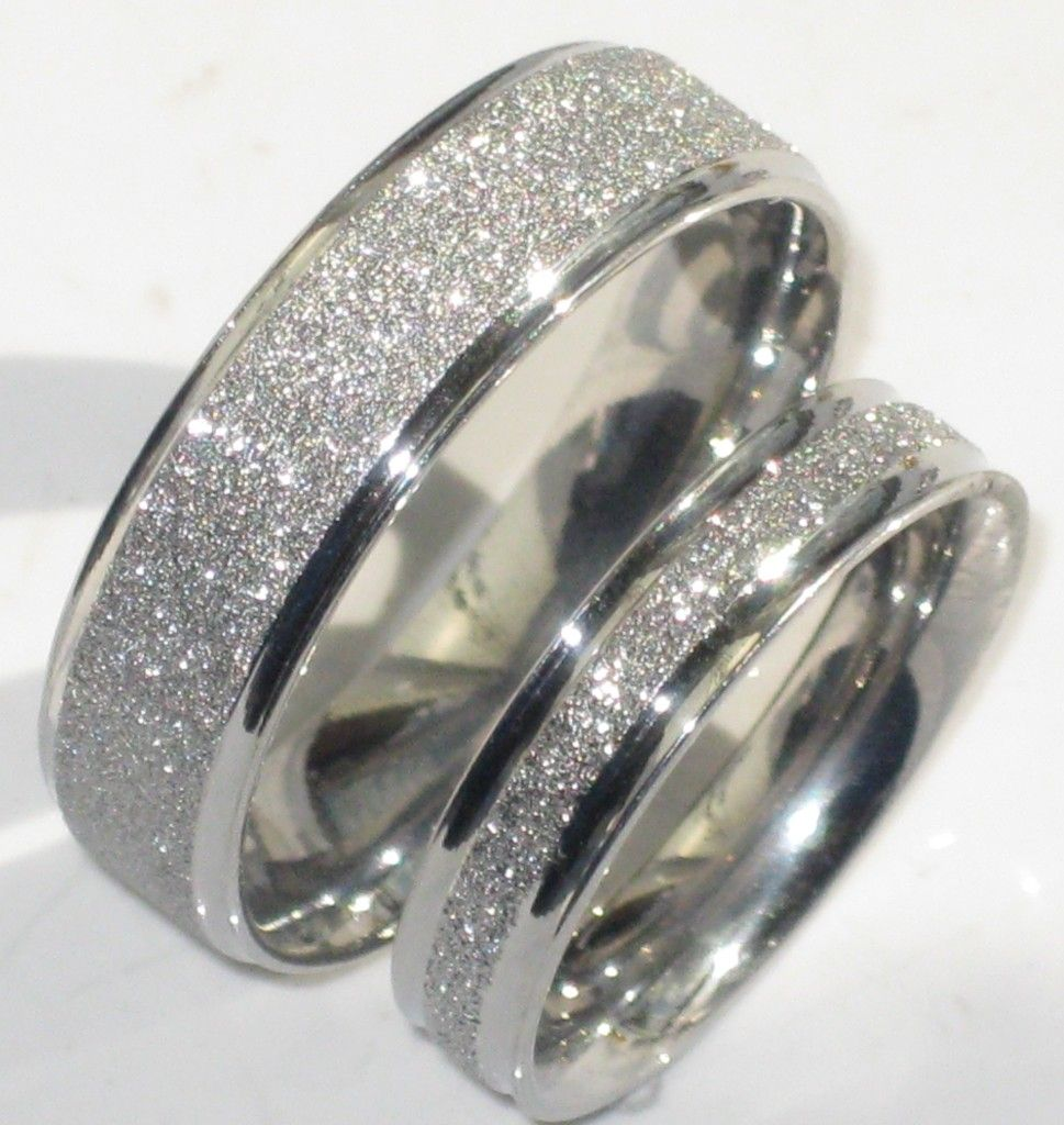 guys wedding rings Mens or Womens Sparkleblast 6mm 4mm Sparkle Wedding Ring Band