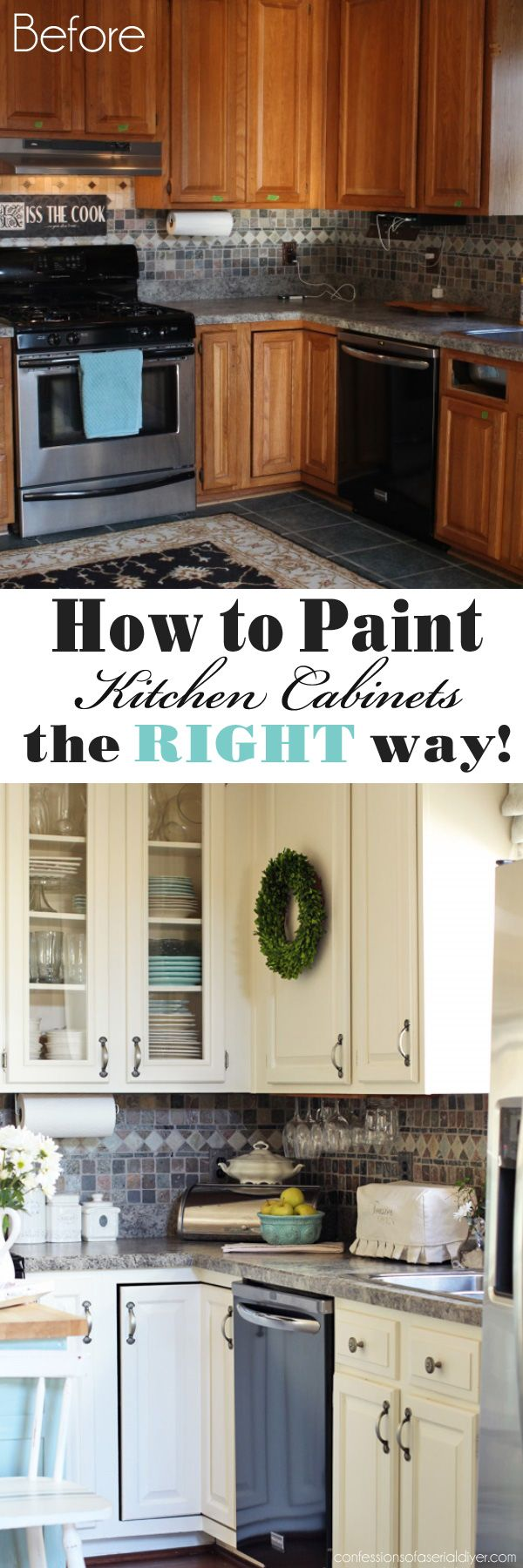 kitchen cabinet updates How to Paint Kitchen Cabinets the RIGHT way from Confessions of a Serial Do it