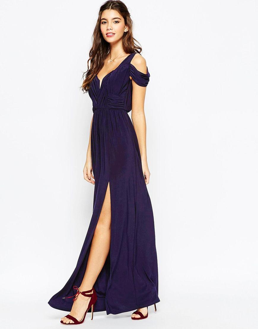 navy dresses for weddings ASOS WEDDING Drape Cold Shoulder Maxi Dress