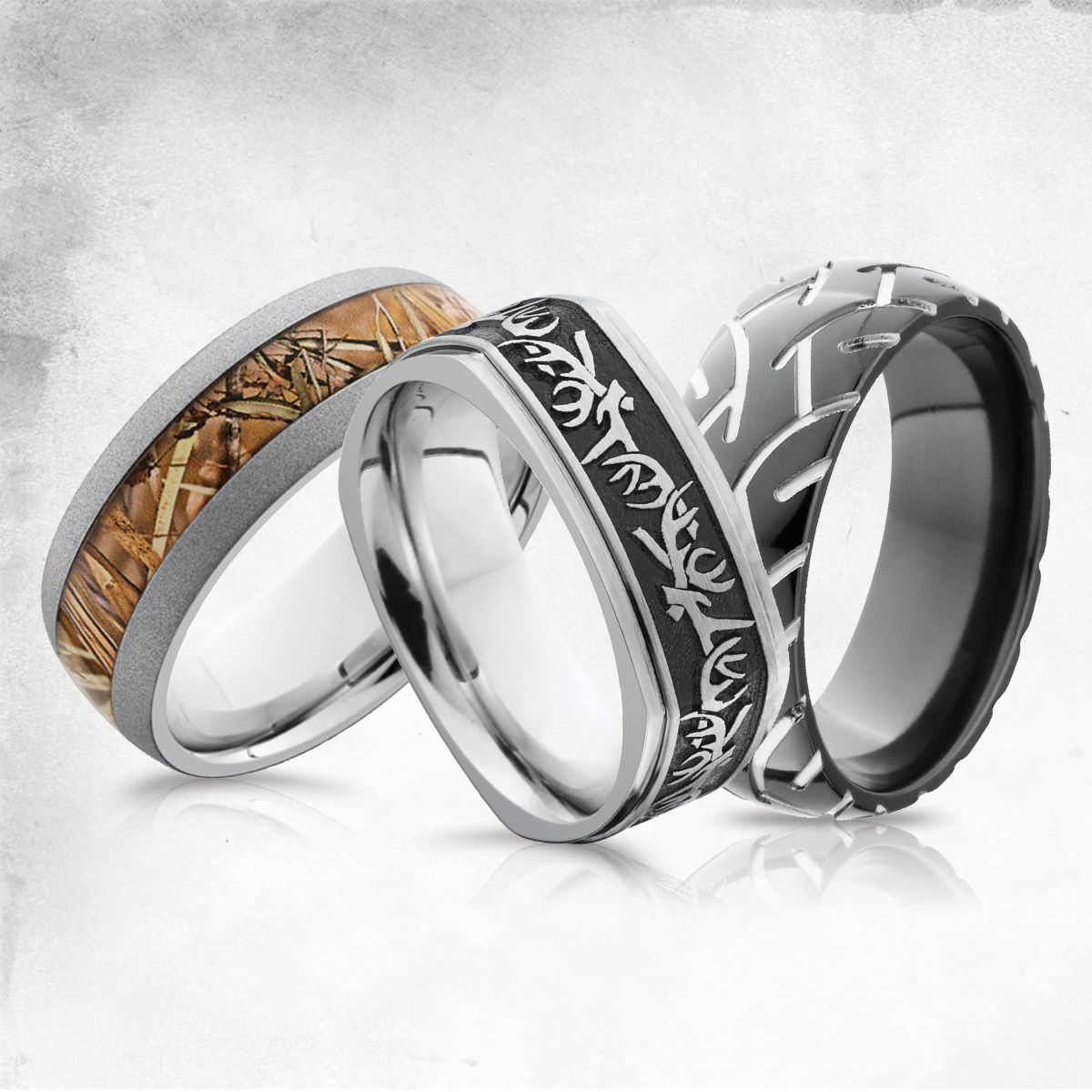 mens camo wedding bands Hunting Camo and Tire Tracks Men s Wedding Bands Men s Wedding Rings
