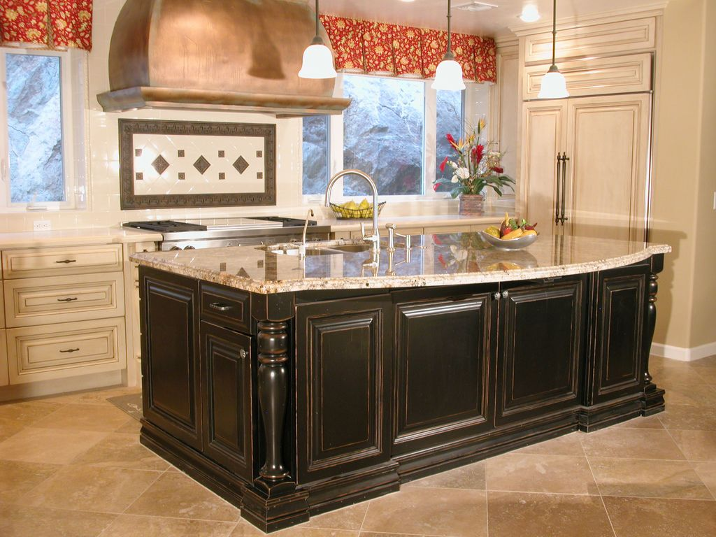 kitchen refinished cabinets kitchen island cabinets High End Kitchen With Cabinetry Painted A Dark Paint Finish On The Kitchen Island