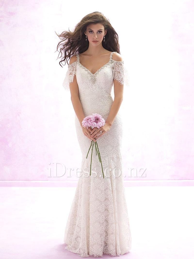 spaghetti strap wedding dress Beaded Spaghetti Straps Peek a boo Ivory Sexy Long Sheath Lace Wedding Dress Open