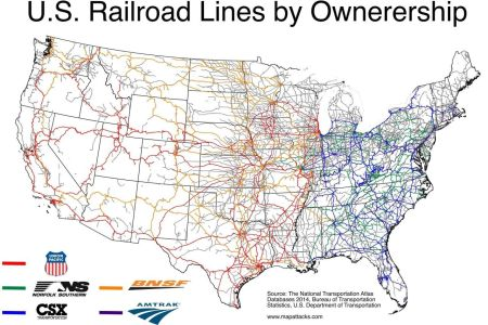 u.s rail lines by ownership   maps united states   pinterest
