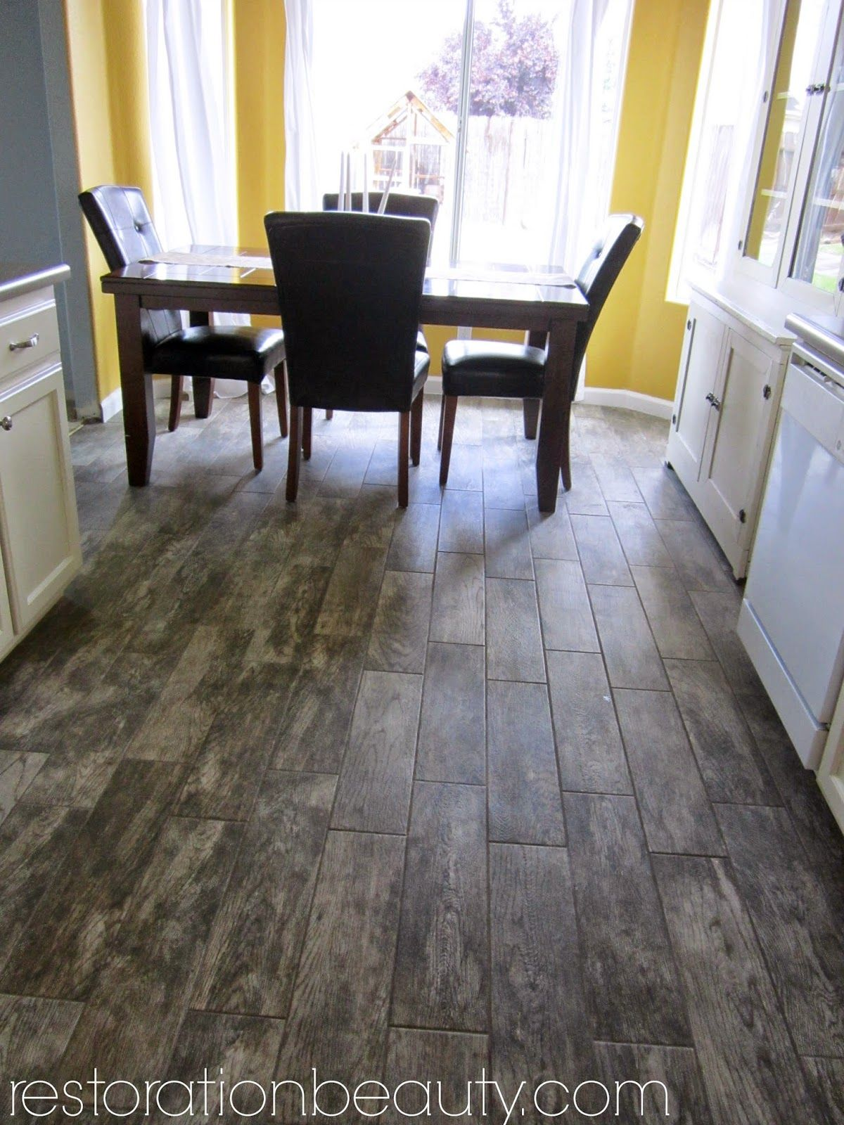 kitchen wood floors Faux Wood Tile Flooring In the Kitchen