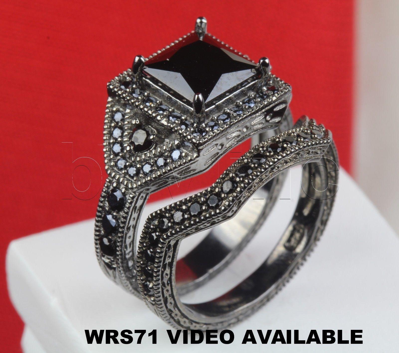 ebay wedding ring sets Rings Black Princess On Black Rhodium Sterling Silver Engagement Wedding Ring Set