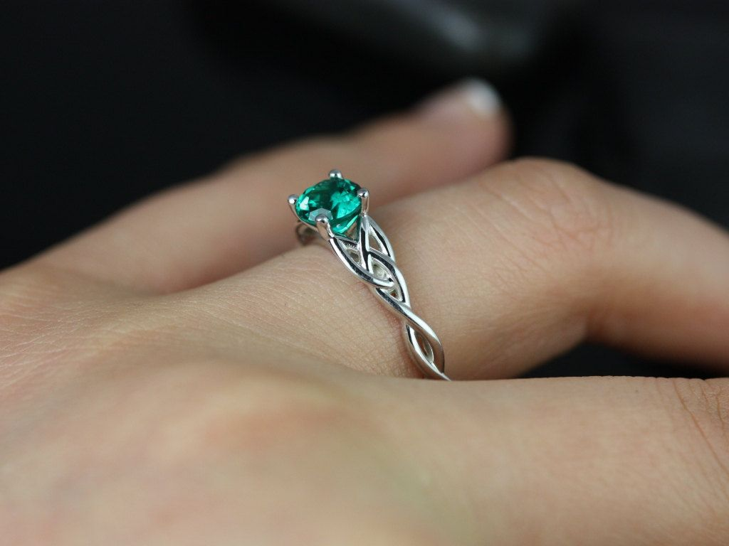 unique wedding rings Cassidy 6mm 14kt White Gold Round Emerald Celtic Knot Engagement Ring Other Metals and Stone Options Available