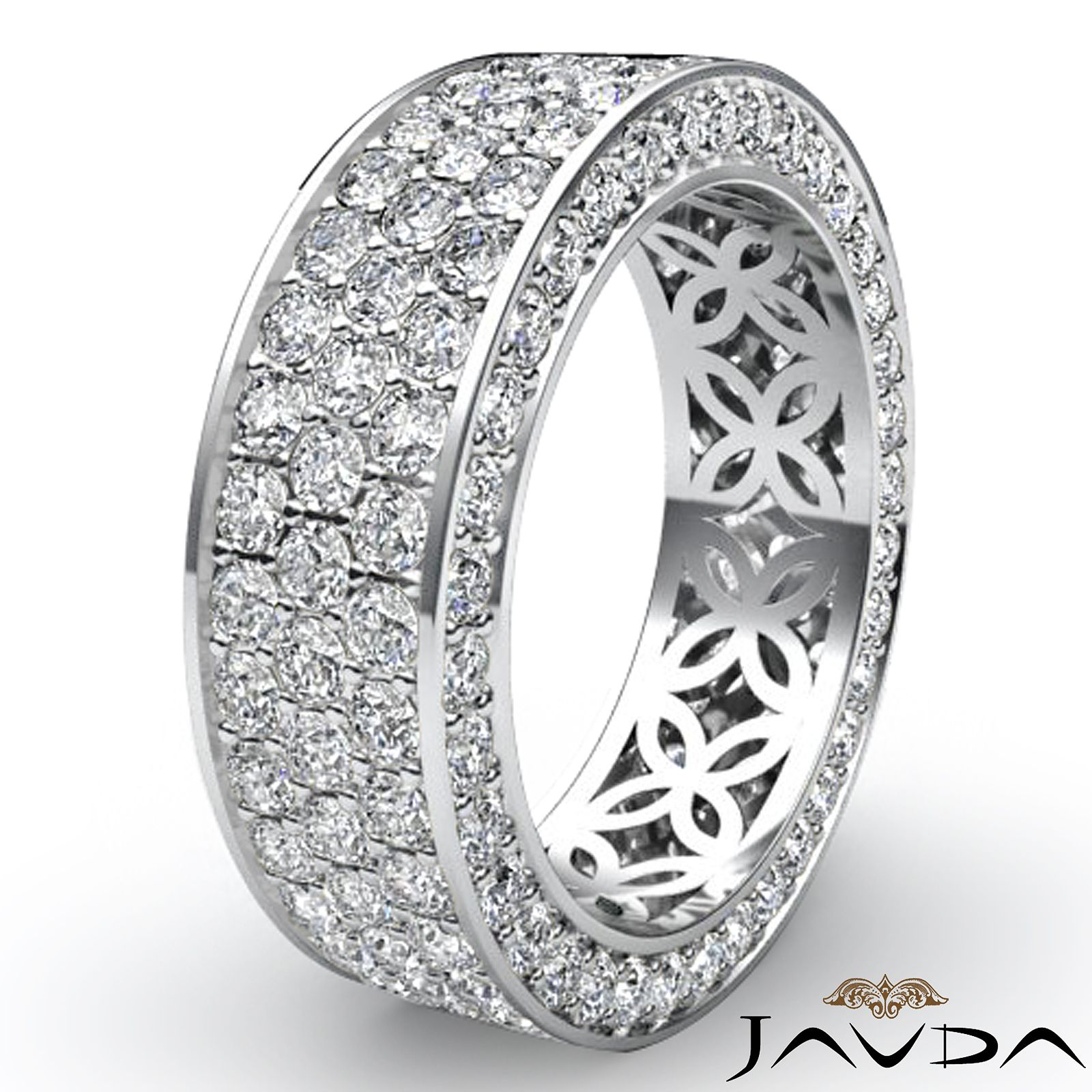 infinity diamond wedding band 3 Row Band White Gold Pave Eternity Ring Diamond Right hand ring size