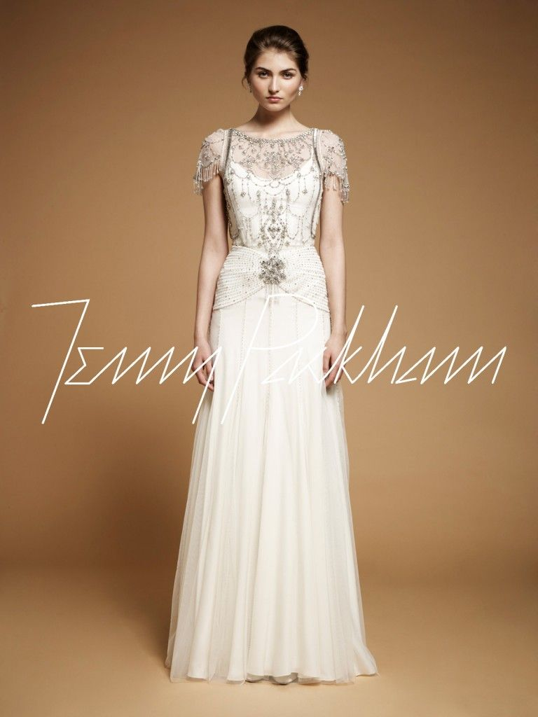 vintage style wedding dress Vintage Style Wedding Gown Jenny Packham Damask vintage art deco 20s beaded crystals