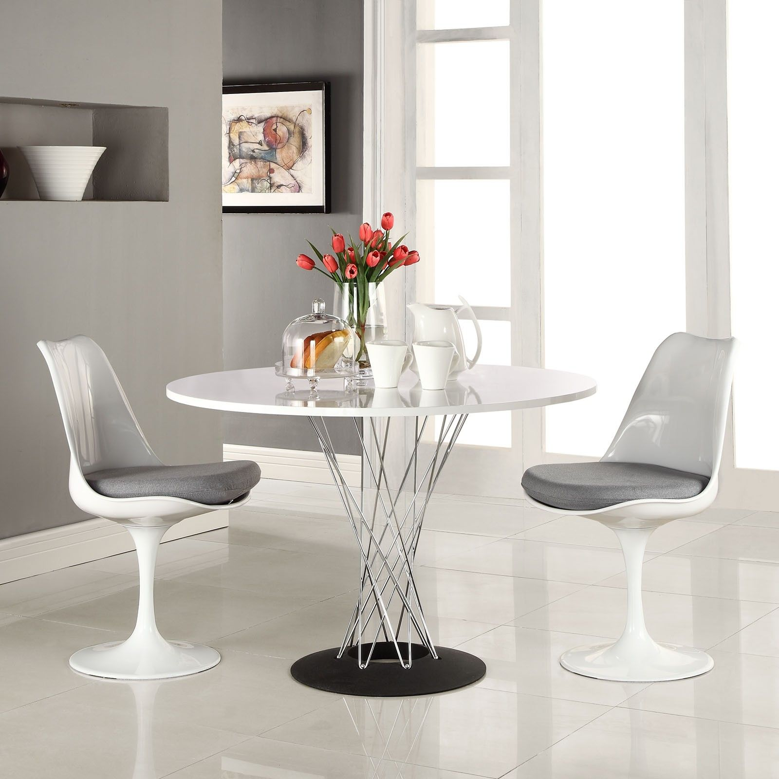 round white kitchen table 15 White Round Table Design Ideas For Extravagant Look Of Your DIning Room