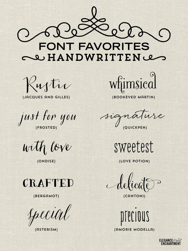 handwritten wedding invitations A collection of elegant handwritten fonts favorites from Elegance Enchantment