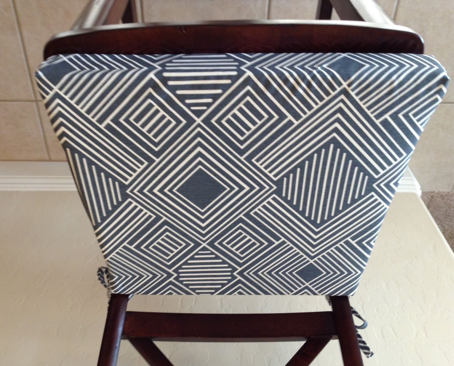 kitchen chair pads Geometric print seat cushion cover kitchen chair pad gunmetal blue gray on cream cotton fabric counter bar stool seat pad cover washable