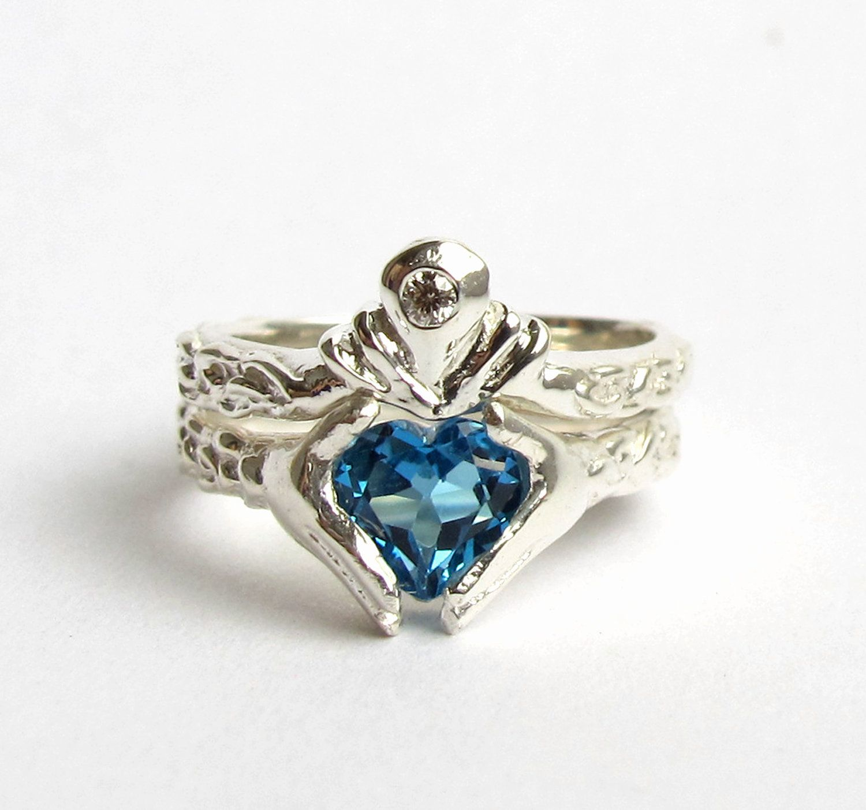 blue topaz wedding band Claddagh Ring Wedding Set White Gold and Diamond Blue Topaz or Red Garnet Engagement Ring and Wedding Band Rickson