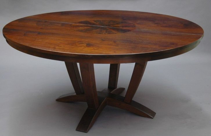 4 person kitchen table Brown Polished Chestnut Wood Expandable Dining Table With Round Eased Table Top