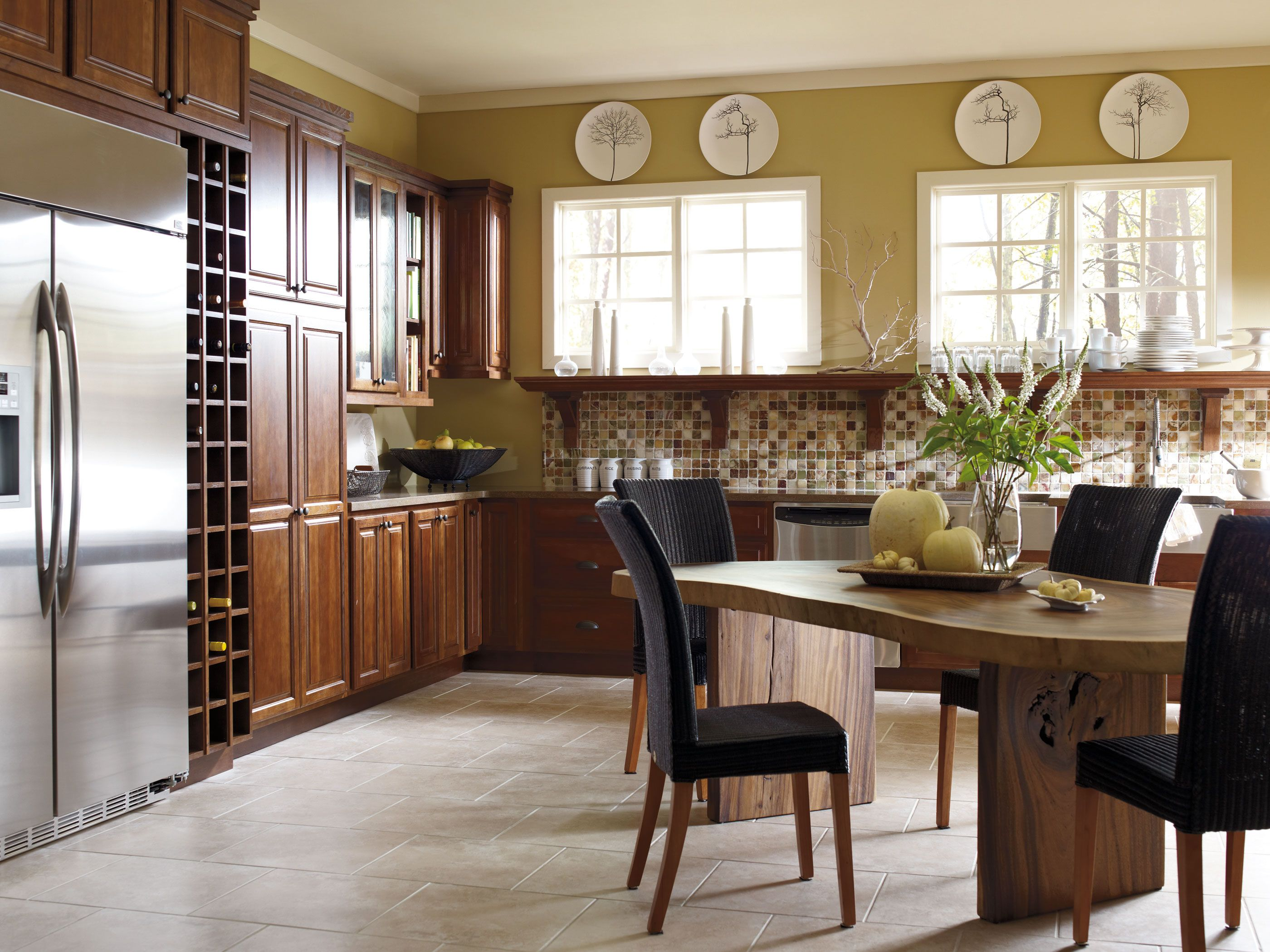 amazing kitchens diamond kitchen cabinets These Hickory kitchen cabinets incorporate open shelving for easy to view easy to reach storage Supported by gorgeous corbels and finished with beautiful