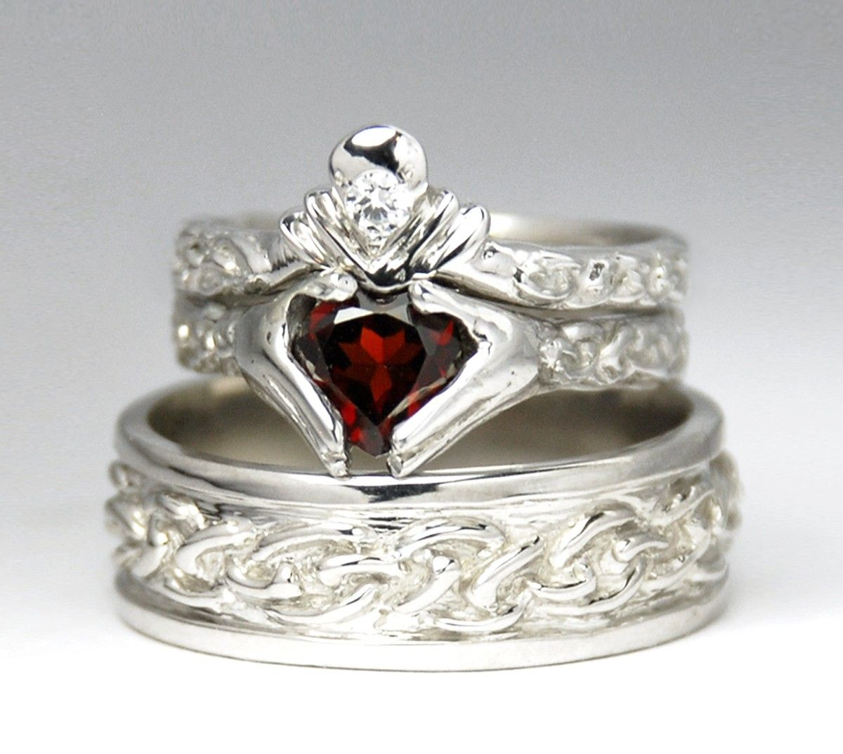 wedding sets Claddagh Wedding Set New White gold Diamond Garnet Engagement Ring Men s Celtic Band Bridal Set Rickson 48 49b 52
