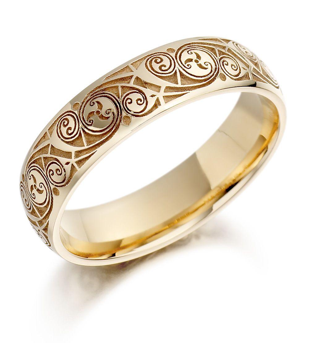 pictures of wedding rings Wedding Ring Mens Gold Celtic Spiral Triskel Irish