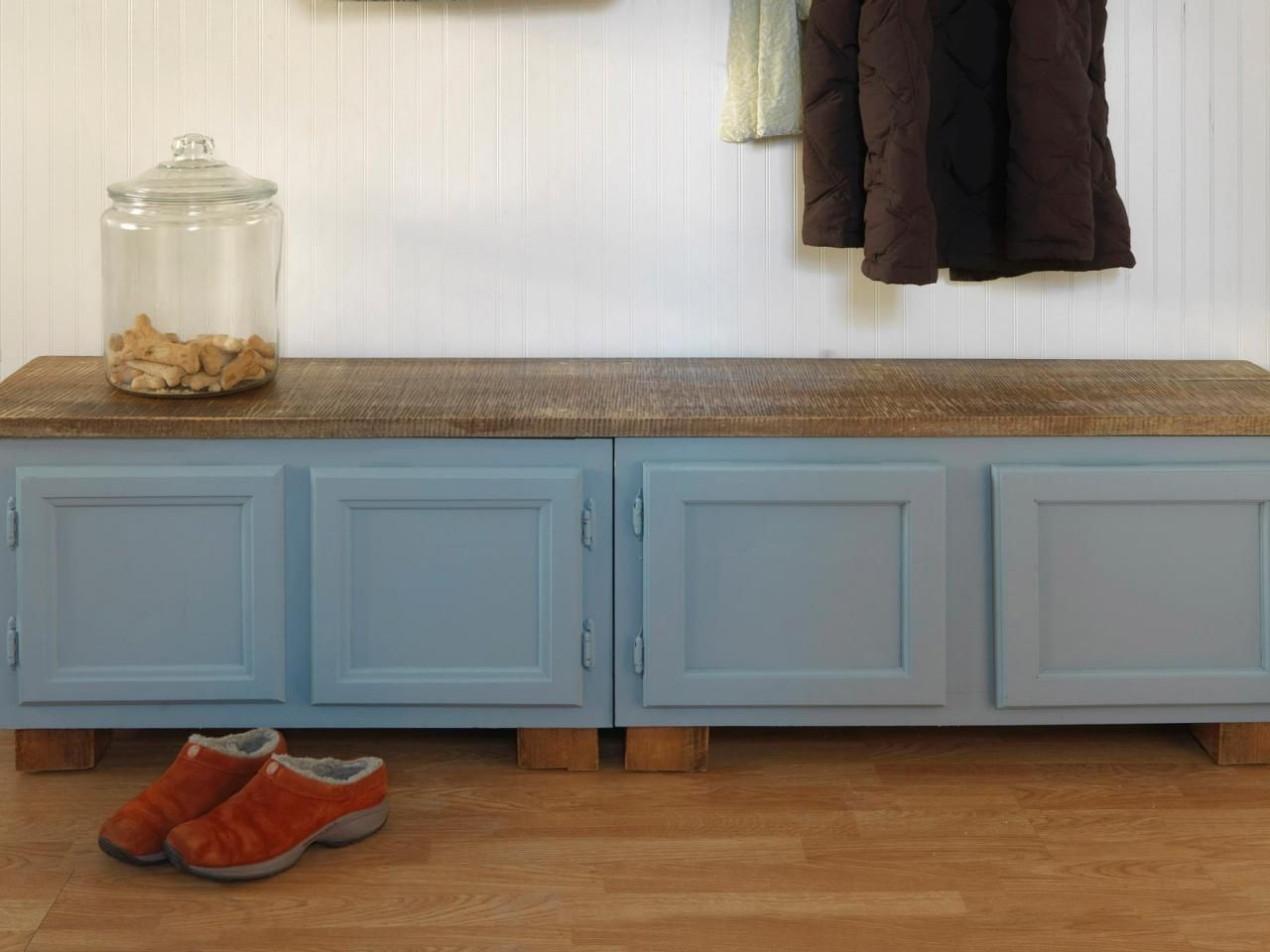 old kitchen cabinets How to Make a Mudroom Bench Using Old Kitchen Cabinets