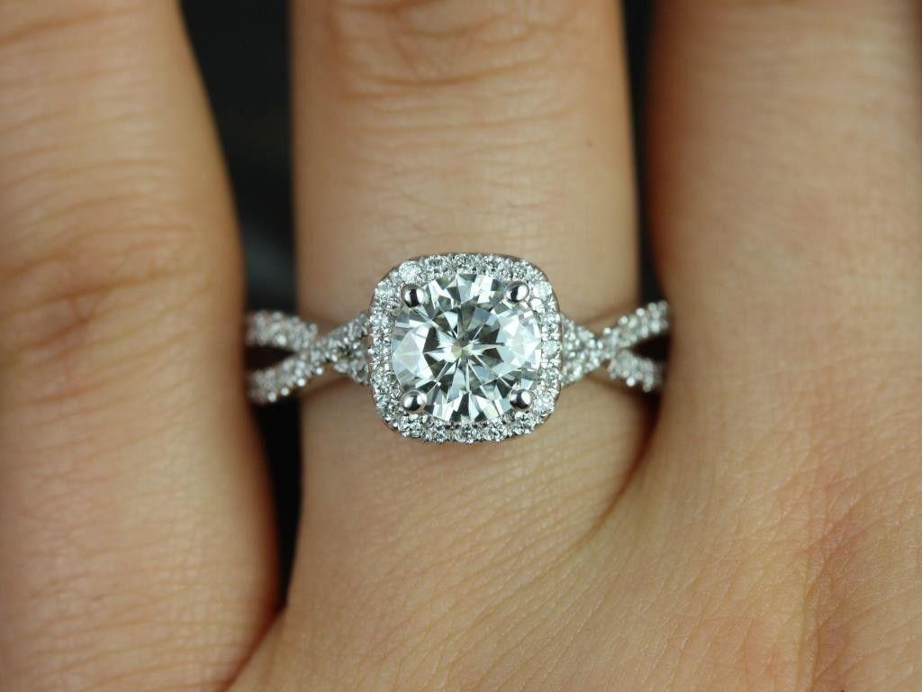 cushion halo engagement rings halo wedding ring Rosados Box Josephine 7mm White Gold Round FB Moissanite and Diamonds Twisted Cushion Halo Engagement Ring
