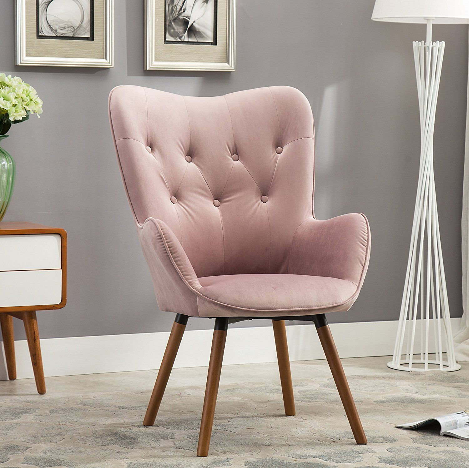 amazon kitchen chairs Amazon com Roundhill Furniture Doarnin Contemporary Silky Velvet Tufted Button Back Accent Chair