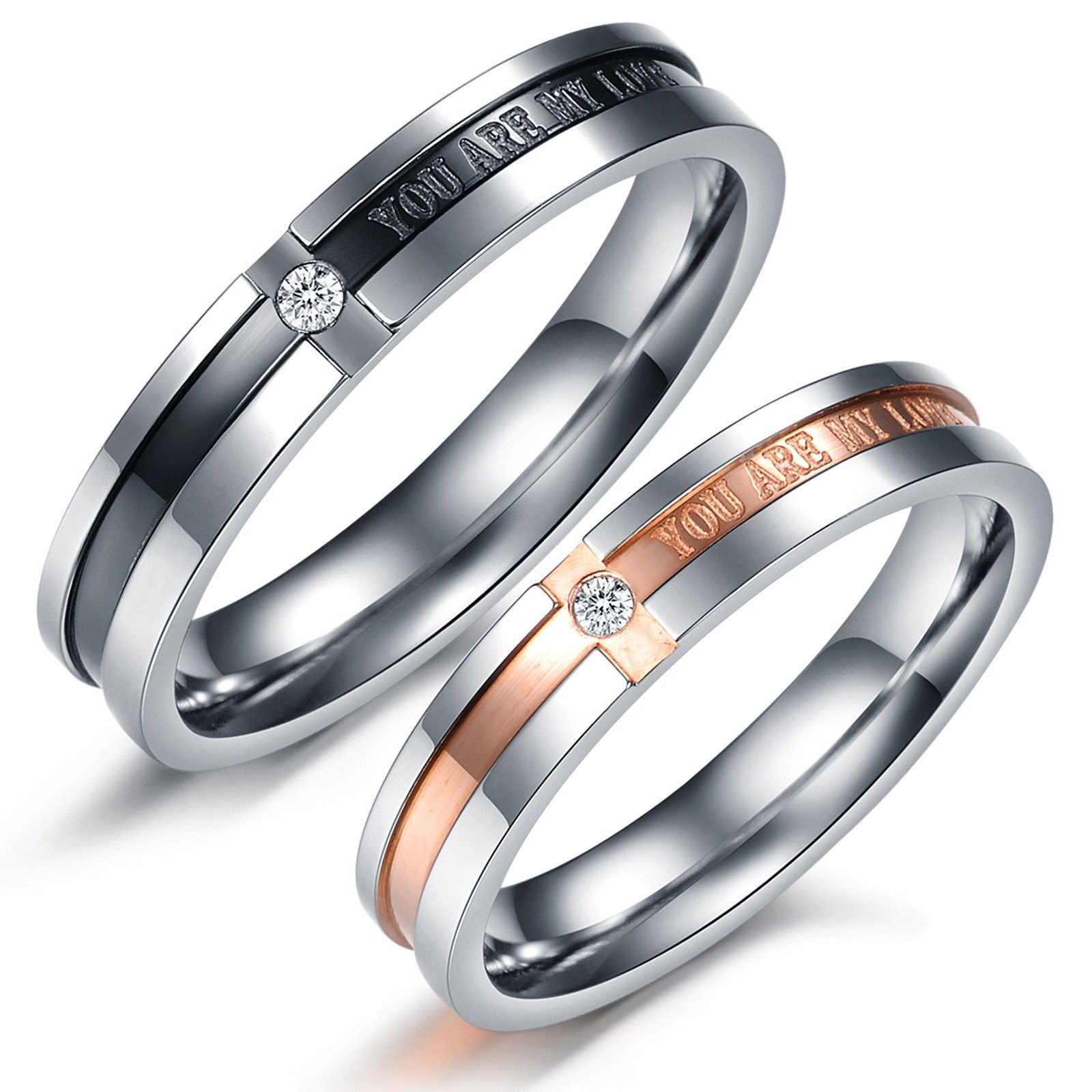 gay wedding bands Simple bu elegant couples rings Matching Couple Titanium Steel Engagement Promise Ring Wedding Bands