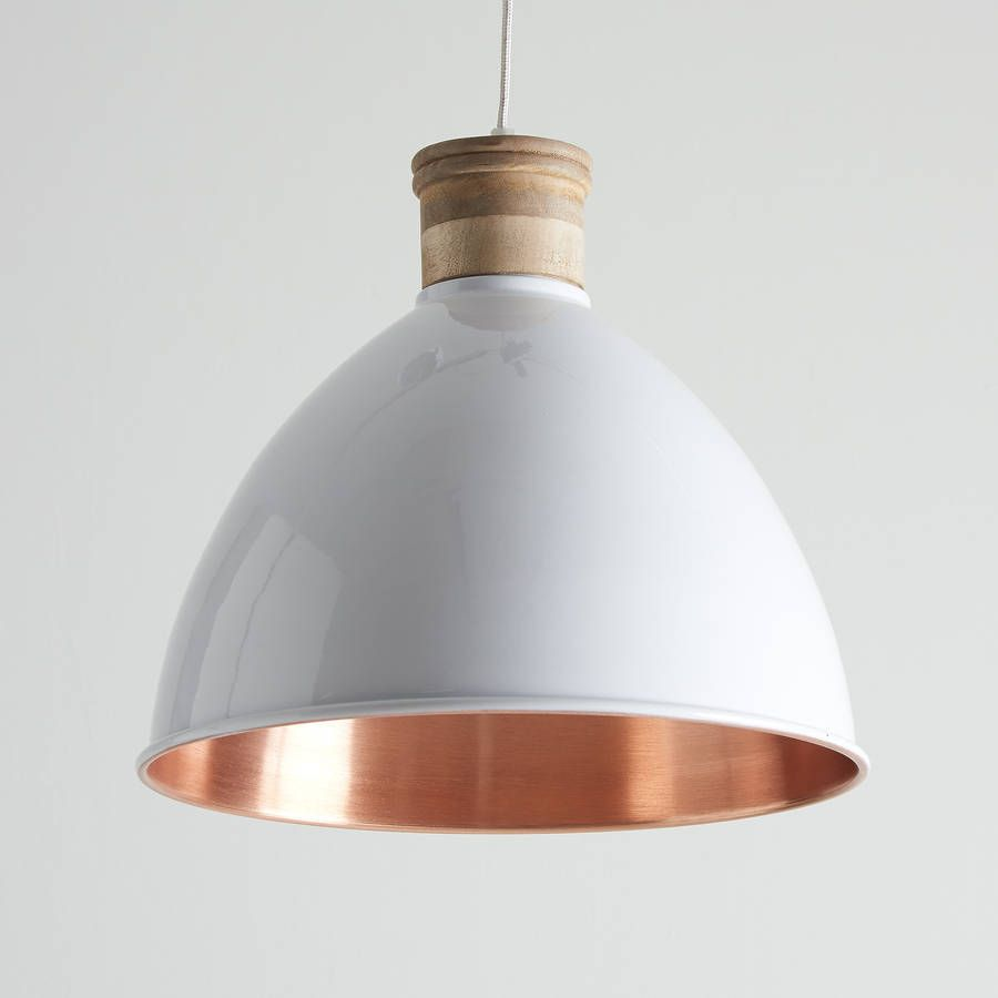 copper pendant light kitchen Lovely white and copper pendant light This stunning wood and metal pendant has been powder