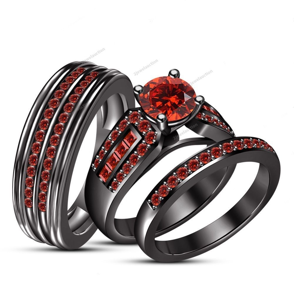 wedding ring trio sets Red Garnet Trio 14k Black Gold Wedding Ring Set Bridal His And Her Engagement 2jewelauction