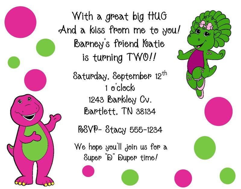 barney and friends birthday invitations | Invitationswedd.org
