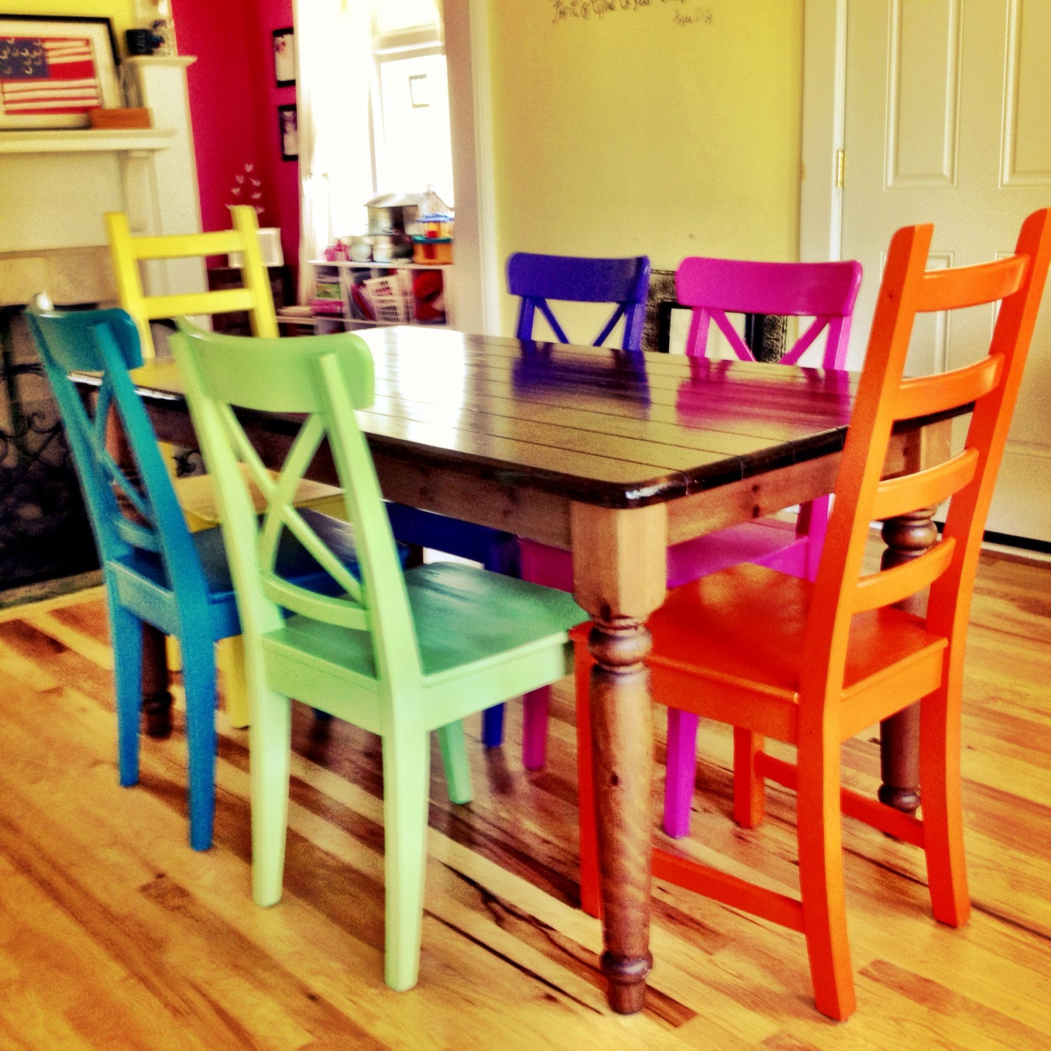 kitchen dining chairs Rustoleum spray painted chairs these remind me of all the colored benches at the