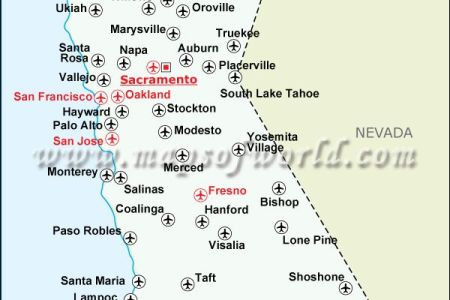 map airports in california