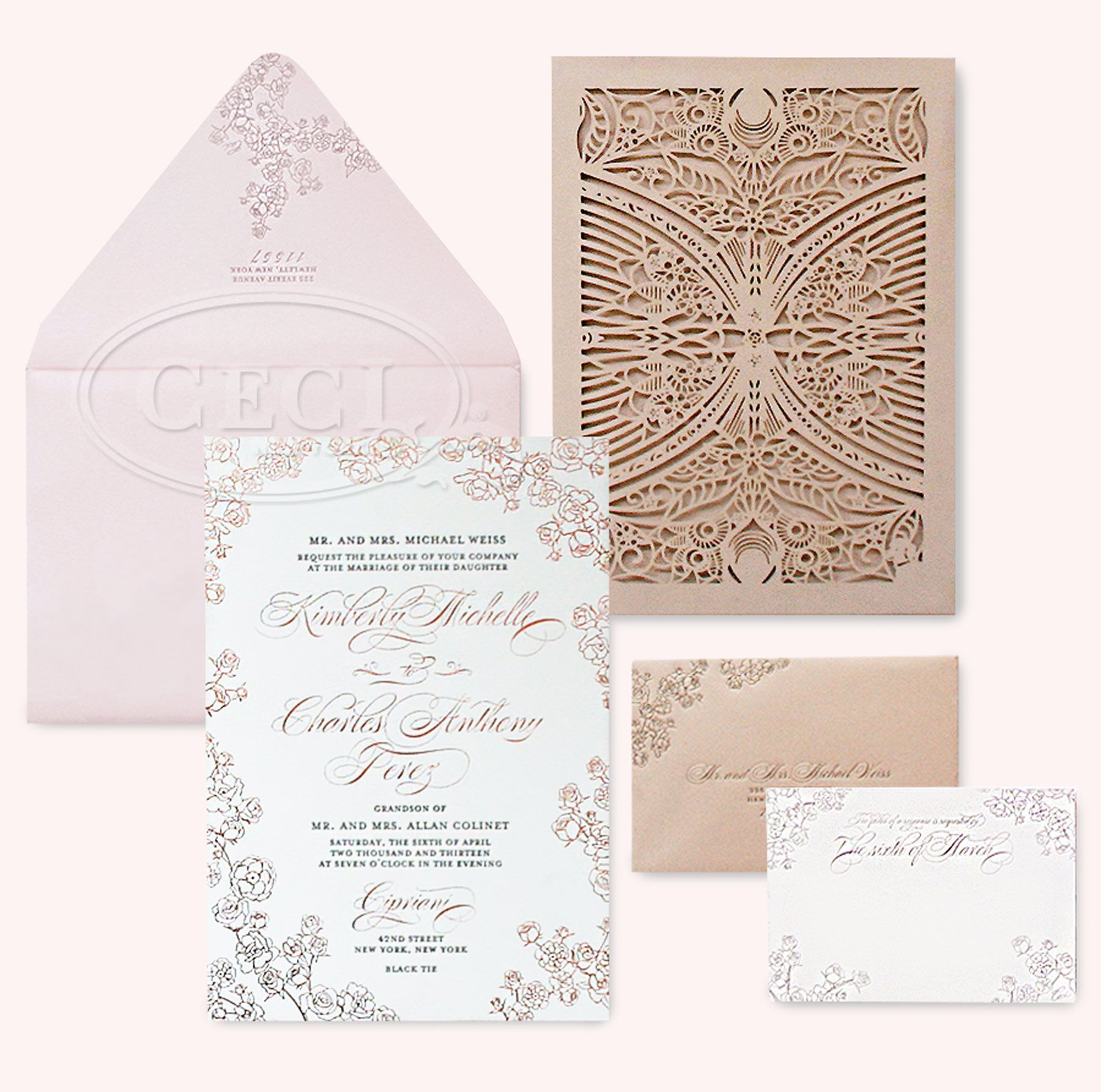 michaels wedding invites Lasercuts fonts and florals oh my Luxury Wedding Invitations by Ceci New