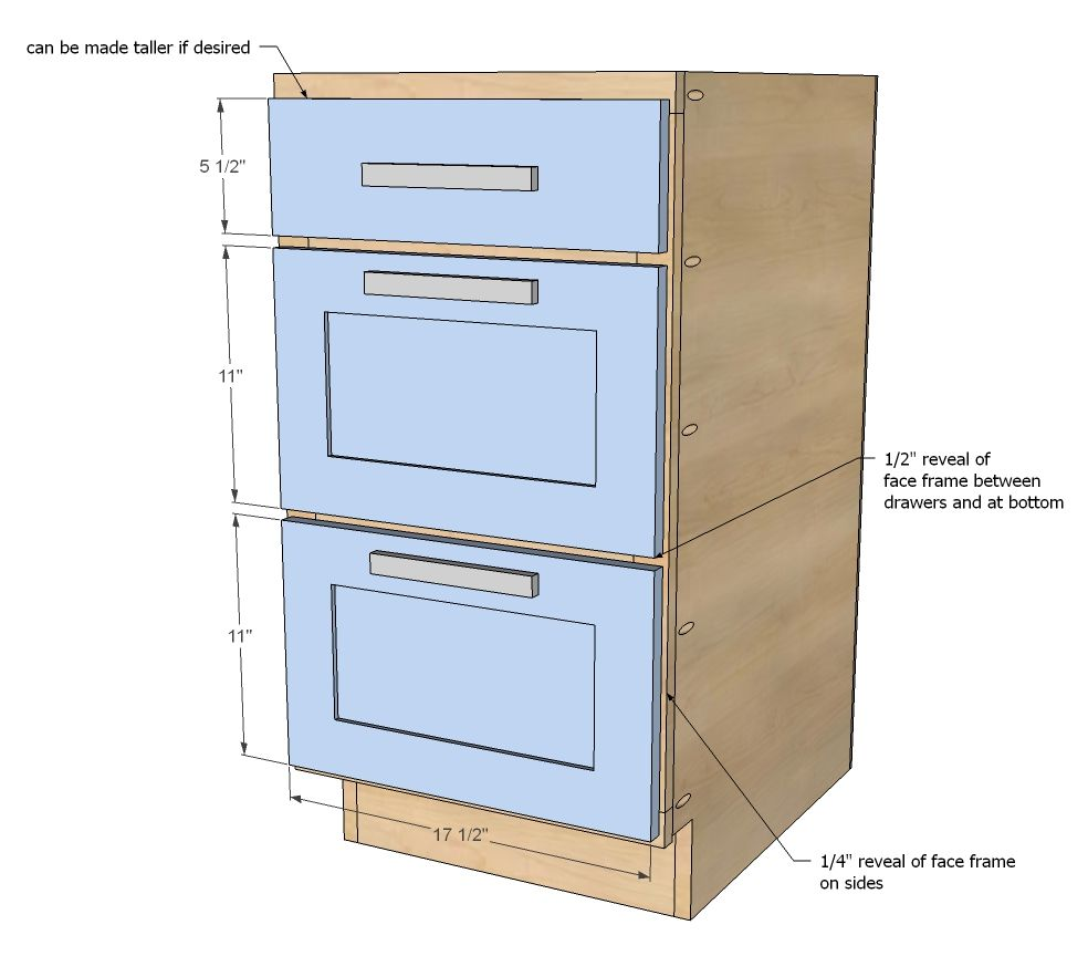 kitchen cabinet height Kitchen Cabinet Drawer Base plans at Ana White Really needs to be to match with Counter height