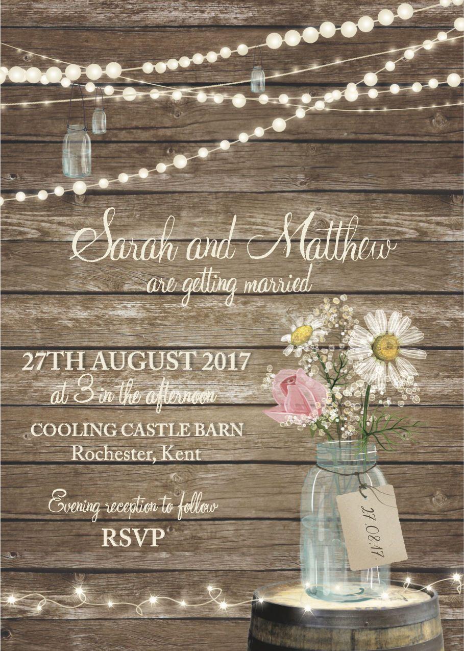 succulent wedding invitations 50 Rustic Wood Jam Jar Fairy Lights Barn Country Wedding Invitations