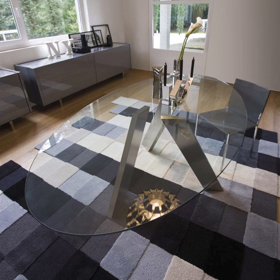 glass kitchen tables Contemporary Oval Glass Dining Tables Collection Pinuccio Borgonovo Contemporary Oval Glass Dining Table Inspiration with