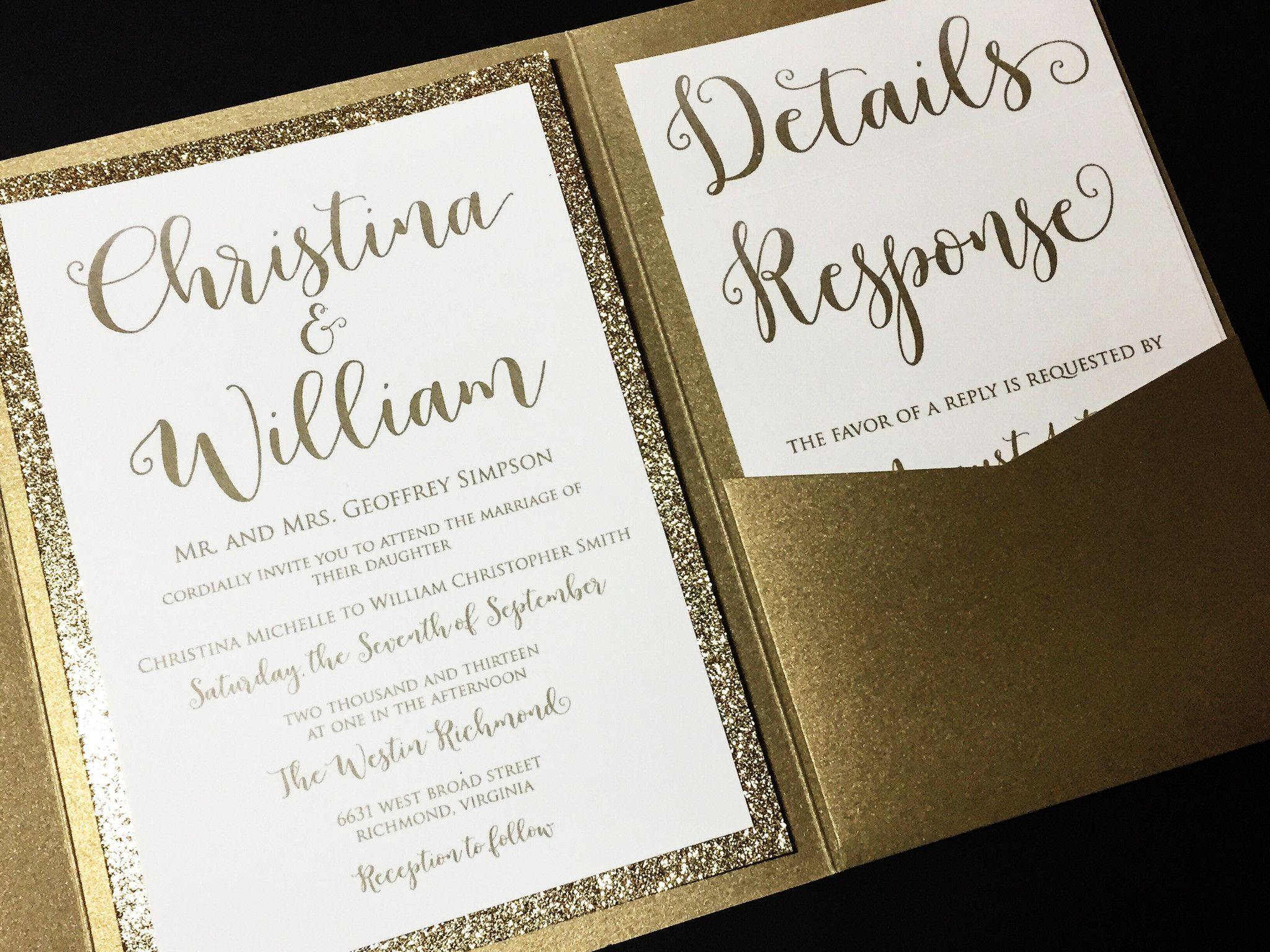formal wedding invitations Glitter Wedding Invitation Luxury Pocketfold Wedding Invitation Elegant Wedding Invitation Formal Wedding Invitation Gold and Gold Glitter Wedding