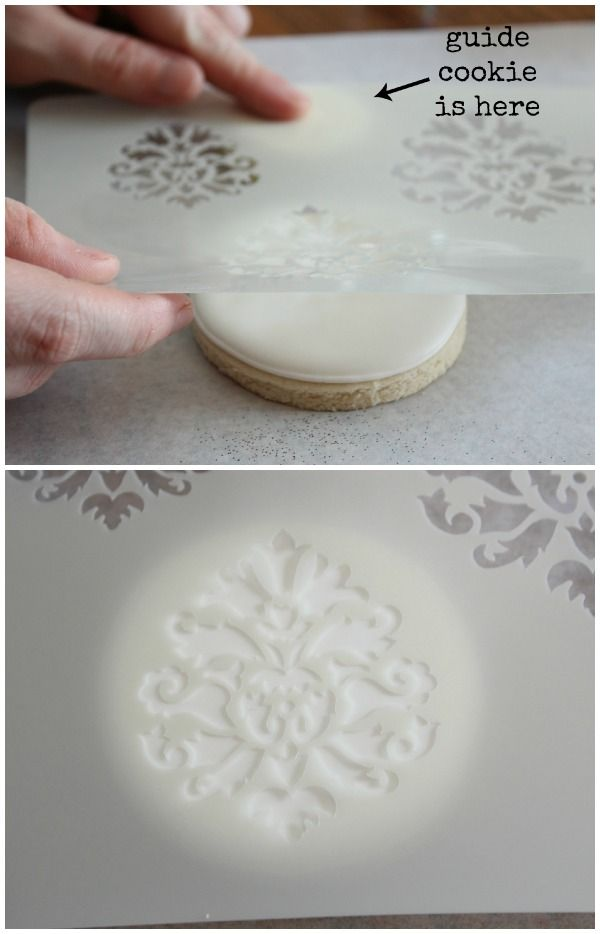 decoracion   Usando stencils   Pinterest   Stenciling  Damasks and     How to stencil on cookies  ala Sugarbelle
