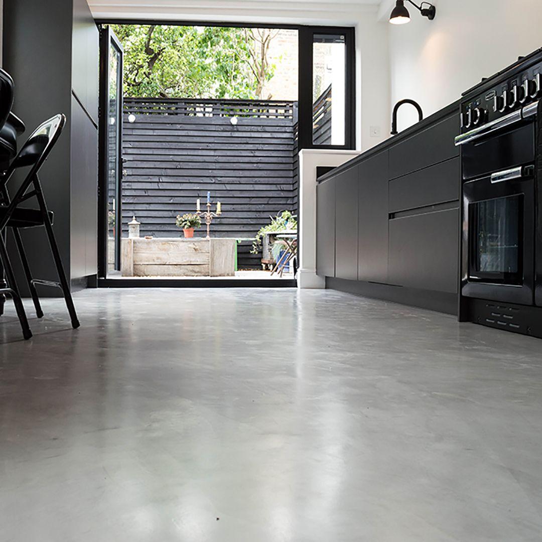 kitchen flooring types Micro Concrete Kitchen installation Poured resin and concrete flooring
