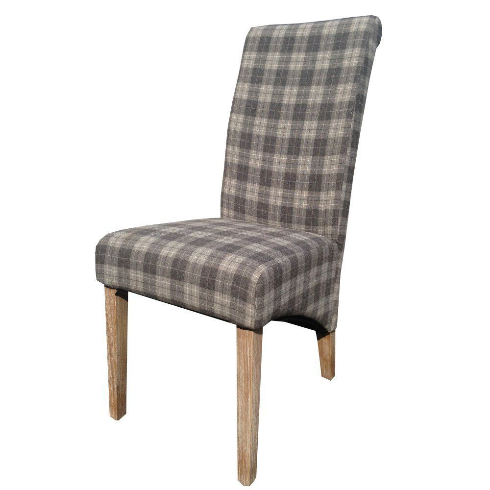 amazon kitchen chairs Linen Dining Chair Upholstered with Grey Tartan Check Fabric Amazon co uk