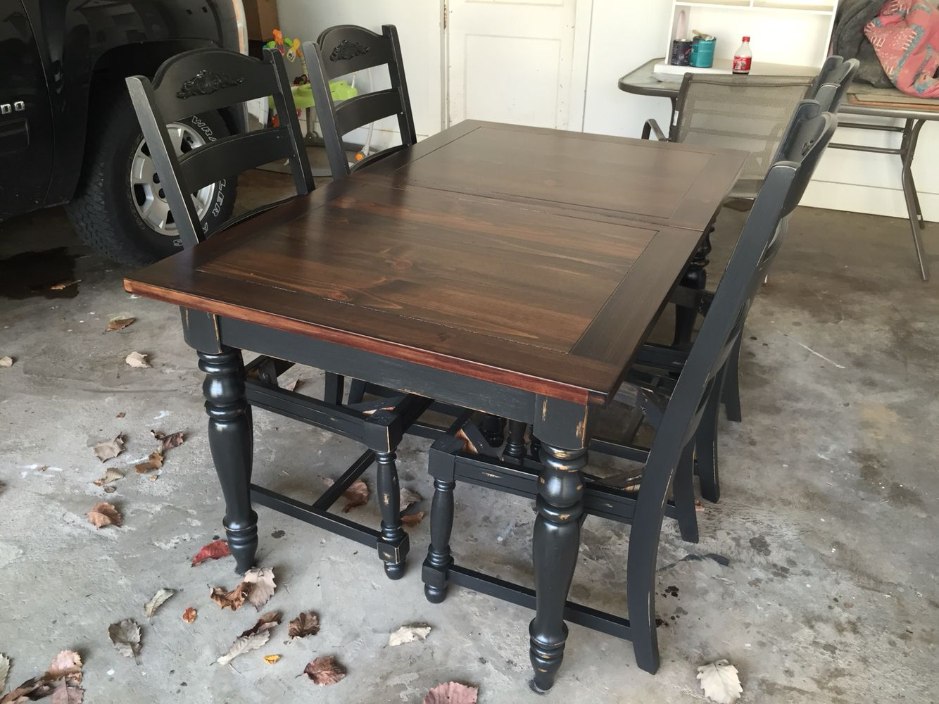 redo kitchen table Refinished oak table base and chairs chalk painted Black Velvet and sealed with polycrylic