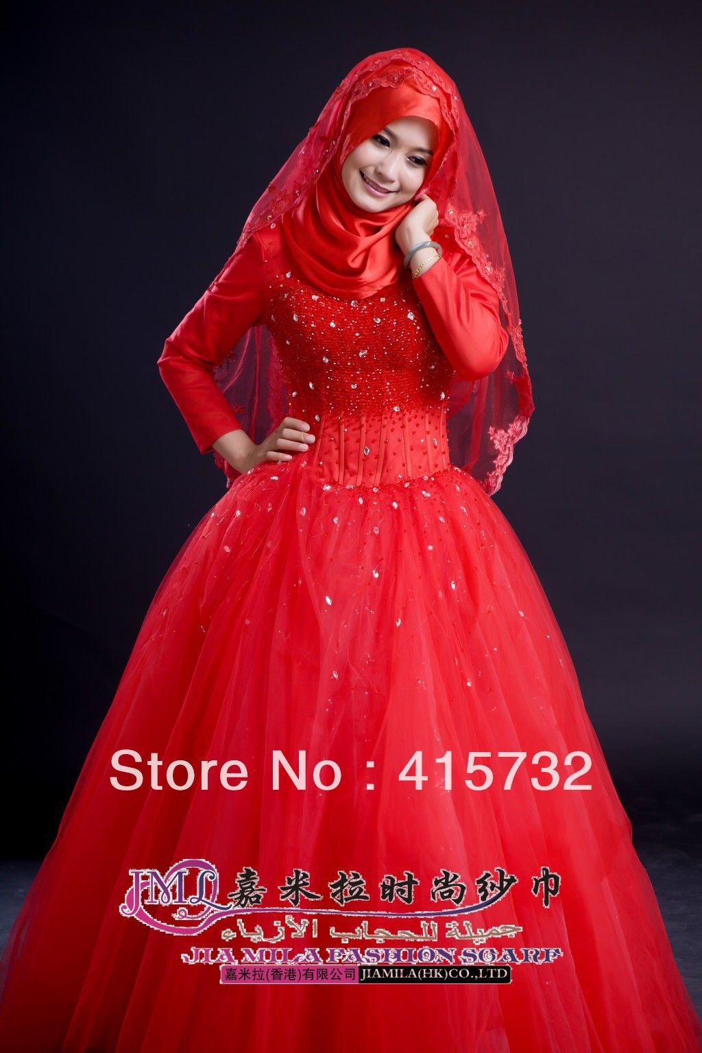 muslim wedding dress Red Islamic Wedding Hijab Dresses Hijab Style Trends