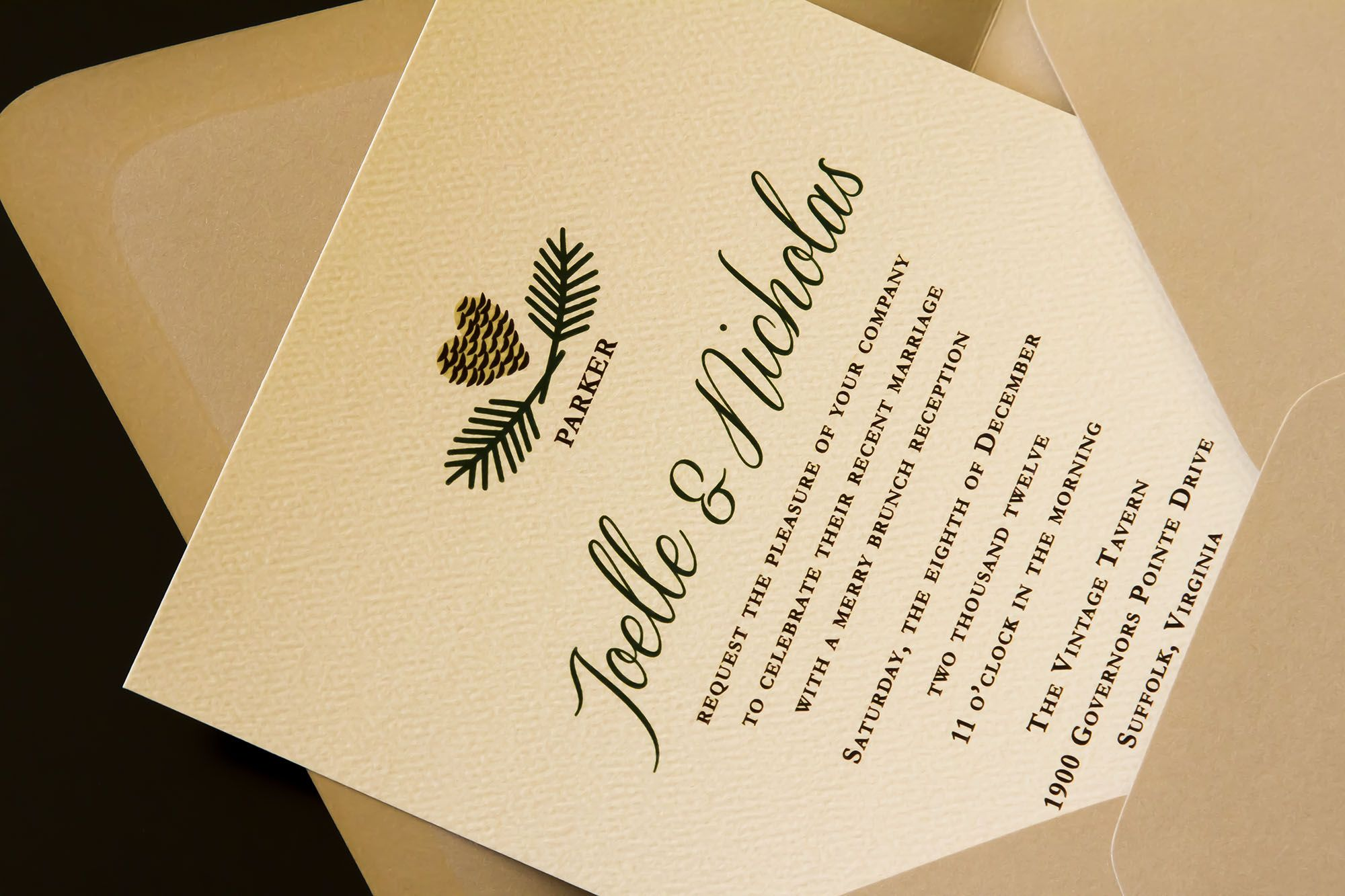 christmas wedding invitations For a Suffolk style shoot The Girl Tyler created a custom wedding invitation suite featuring winter green text on linen paper with pine cone accents