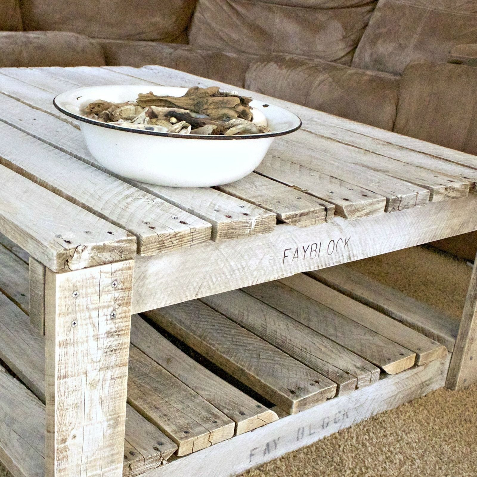 whitewash kitchen table Pallet coffee tables Learn how to whitewash raw wood for a shabby chic finish Free tutorial with