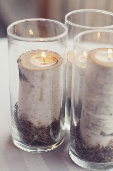 Pin by selda ayd    n on BEUTY HOME   Pinterest   Birch  Decorating and     DIY white birch candle holders in glass hurricanes  Remember that birch  bark is extremely flammable to use Candle Impressions Tea Lights or Votives  as your